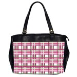 Pink plaid pattern Office Handbags (2 Sides)