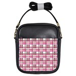 Pink plaid pattern Girls Sling Bags