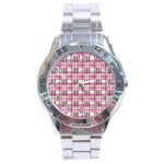 Pink plaid pattern Stainless Steel Analogue Watch