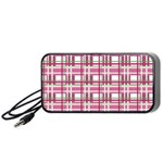 Pink plaid pattern Portable Speaker (Black)
