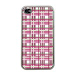Pink plaid pattern Apple iPhone 4 Case (Clear)