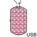 Pink plaid pattern Dog Tag USB Flash (One Side)