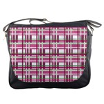 Pink plaid pattern Messenger Bags