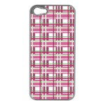 Pink plaid pattern Apple iPhone 5 Case (Silver)