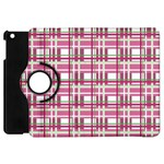 Pink plaid pattern Apple iPad Mini Flip 360 Case