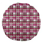 Pink plaid pattern Large 18  Premium Round Cushions
