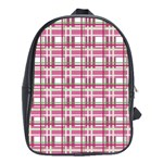 Pink plaid pattern School Bags (XL)