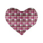 Pink plaid pattern Standard 16  Premium Heart Shape Cushions