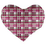 Pink plaid pattern Large 19  Premium Heart Shape Cushions