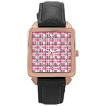 Pink plaid pattern Rose Gold Leather Watch