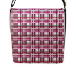 Pink plaid pattern Flap Messenger Bag (L)