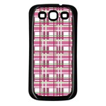 Pink plaid pattern Samsung Galaxy S3 Back Case (Black)