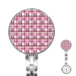 Pink plaid pattern Stainless Steel Nurses Watch