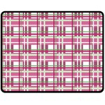 Pink plaid pattern Double Sided Fleece Blanket (Medium)