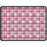 Pink plaid pattern Double Sided Fleece Blanket (Large)