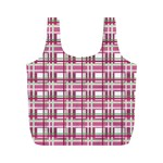 Pink plaid pattern Full Print Recycle Bags (M)