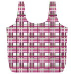 Pink plaid pattern Full Print Recycle Bags (L)