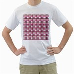 Pink plaid pattern Men s T-Shirt (White)