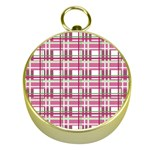 Pink plaid pattern Gold Compasses
