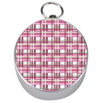 Pink plaid pattern Silver Compasses