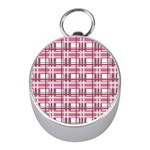 Pink plaid pattern Mini Silver Compasses