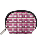 Pink plaid pattern Accessory Pouches (Small)