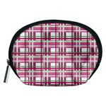 Pink plaid pattern Accessory Pouches (Medium)