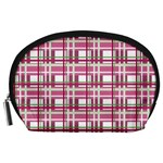 Pink plaid pattern Accessory Pouches (Large)