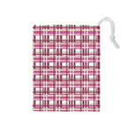 Pink plaid pattern Drawstring Pouches (Medium)