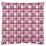 Pink plaid pattern Large Flano Cushion Case (Two Sides)