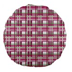 Pink plaid pattern Large 18  Premium Flano Round Cushions