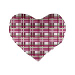 Pink plaid pattern Standard 16  Premium Flano Heart Shape Cushions