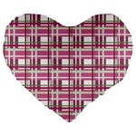 Pink plaid pattern Large 19  Premium Flano Heart Shape Cushions