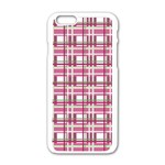 Pink plaid pattern Apple iPhone 6/6S White Enamel Case