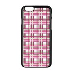 Pink plaid pattern Apple iPhone 6/6S Black Enamel Case