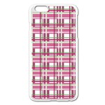 Pink plaid pattern Apple iPhone 6 Plus/6S Plus Enamel White Case