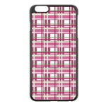 Pink plaid pattern Apple iPhone 6 Plus/6S Plus Black Enamel Case