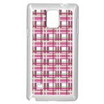 Pink plaid pattern Samsung Galaxy Note 4 Case (White)