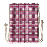 Pink plaid pattern Drawstring Bag (Large)