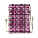 Pink plaid pattern Drawstring Bag (Small)