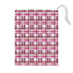 Pink plaid pattern Drawstring Pouches (Extra Large)