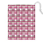 Pink plaid pattern Drawstring Pouches (XXL)