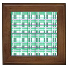 Green plaid pattern Framed Tiles from ArtsNow.com Front