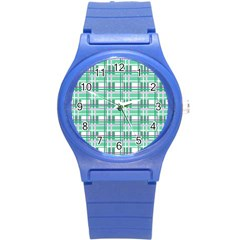 Green plaid pattern Round Plastic Sport Watch (S) from ArtsNow.com Front