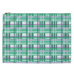 Green plaid pattern Cosmetic Bag (XXL)  from ArtsNow.com Front
