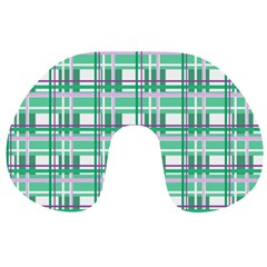 Green plaid pattern Travel Neck Pillows from ArtsNow.com Front
