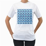 Blue plaid pattern Women s T-Shirt (White) (Two Sided)