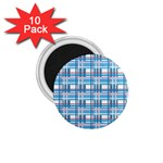 Blue plaid pattern 1.75  Magnets (10 pack)