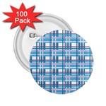 Blue plaid pattern 2.25  Buttons (100 pack)