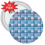 Blue plaid pattern 3  Buttons (10 pack)